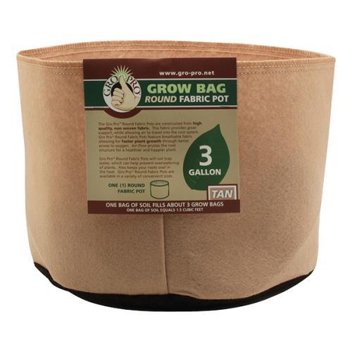 Gro Pro® Premium Round Fabric Pots - Tan