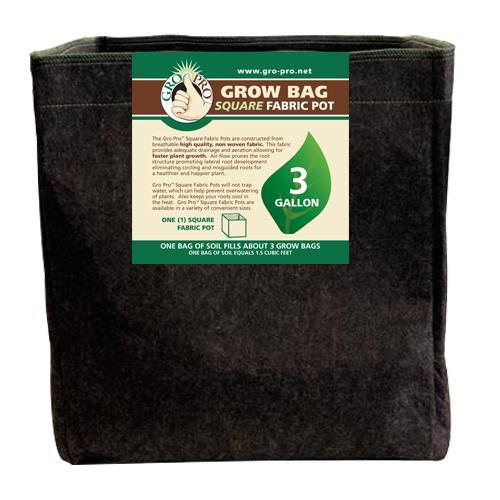 Gro Pro® Square Fabric Pots - Black