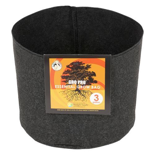 Gro Pro® Essential Round Fabric Pots - Black