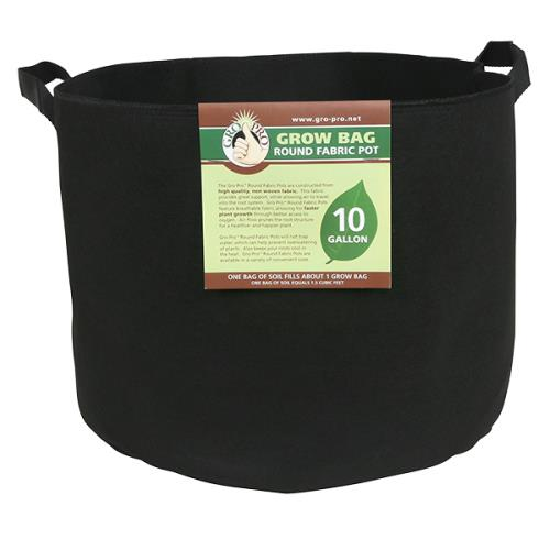 Gro Pro® Premium Round Fabric Pots with Handles - Black