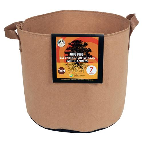 Gro Pro® Essential Round Fabric Pots with Handles - Tan