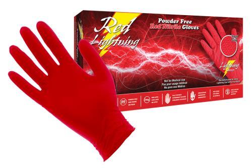 Red Lightning Powder Free Nitrile Gloves