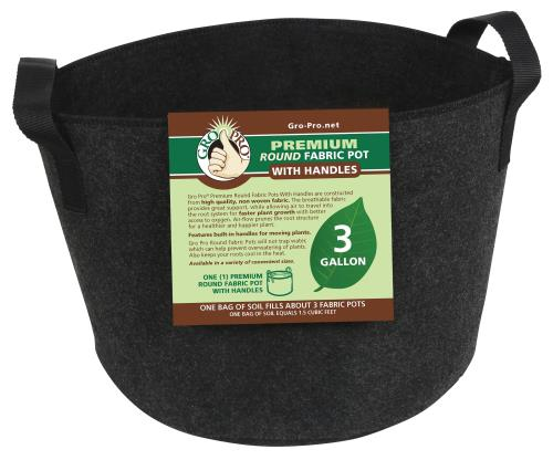 Gro Pro® Premium Round Fabric Pots with Handles - Black