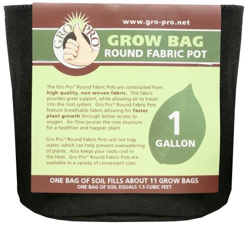 Gro Pro® Premium Round Fabric Pots - Black