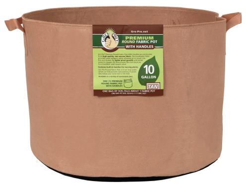 Gro Pro® Premium Round Fabric Pots with Handles - Tan