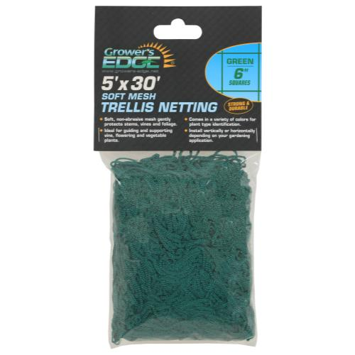 Grower's Edge® Green Soft Mesh Trellis Netting with 6 in Squares