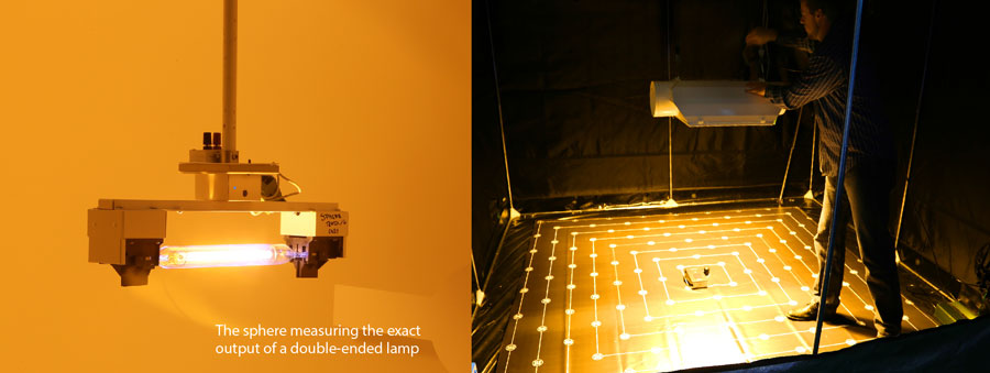 the sphere measuring the exact output of a double-ended lamp
